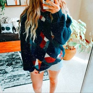 🌞 colorful eclectic oversize geometric sweater p1